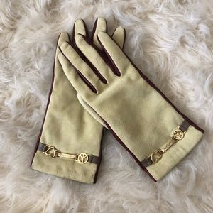 Moschino suede leather cashmere lined gloves